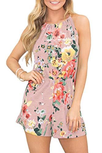 Womens Boho Floral Short Pants Sleeveless Jumpsuit Cotton Halter Beach Romper Light Pink L