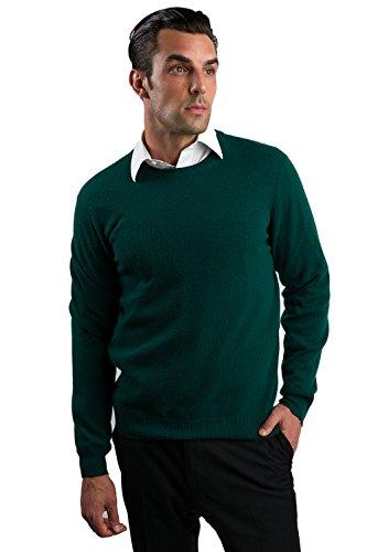 JENNIE LIU Men's Cashmere Long Sleeve Crewneck Sweater, Green, (2 Ply Cashmere Crewneck Sweater)