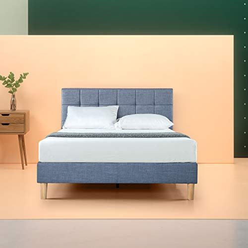 Zinus Lottie Upholstered Square Stitched Platform Bed / Mattress Foundation / Easy Assembly / Strong Wood Slat Support / Blue Slate, King