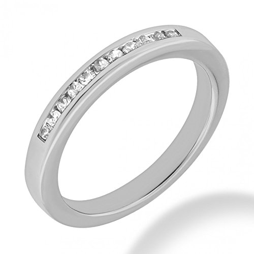0.75 ct. Round Cut Diamond Wedding Band in Channel Mounting in 14 kt White Gold In Size 15 ()