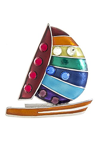 THE JEWEL RACK CRYSTAL SAILBOAT BROOCH (Silver) (Rack Sailboat)