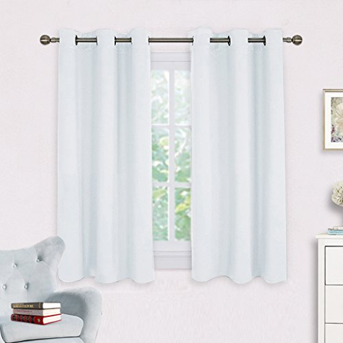 Room Darkening Draperies Curtains Panels - NICETOWN Window Treatment Thermal Insulated Grommet Room Darkenining Curtains / Drapes for Bedroom (2 Panels,42 by 45,Silver White) (Silver White Curtains And)