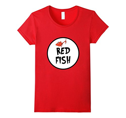Womens Cute Rhyming Red Fish T-shirt | Group Matching Costume Small (Family Themed Group Halloween Costume Ideas)