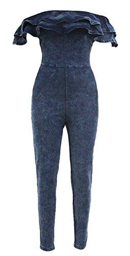 YFFaye Women's Stylish Blue Ruffle Off Shoulder Denim Jumpsuit Size L by YFFaye