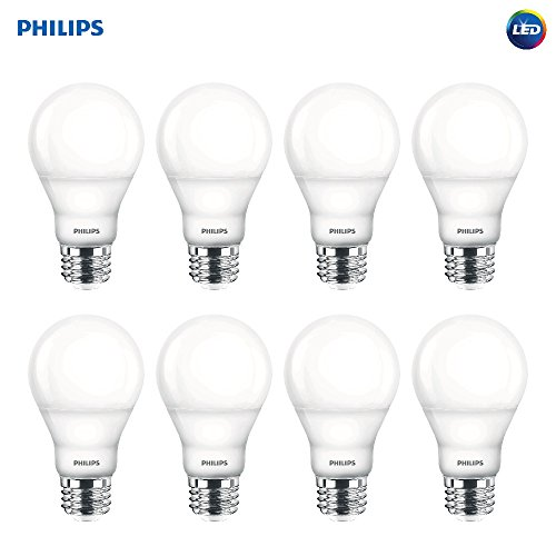 Philips LED Dimmable A19 Light Bulb with Warm Glow Effect: 800-Lumen, 2200-2700 Kelvin, 9.5-Watt (60-Watt Equivalent), E26 Base, Soft White, 8-Pack