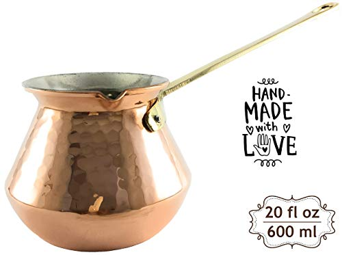 The Silk Road Trade - DC Series - Thickest Gorgeous Hammered Copper Turkish Greek Arabic Copper Coffee Pot/Coffee Maker Ibrik Briki with Cast Solid Bronze Handle - New Style 2018 (20 fl oz) by The Silk Road Trade (Image #8)