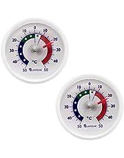 2 piezas conjunto ronda bimetálico frigorífico analógica termómetro adhesivo. pantalla de temperatura termómetro frigorífico + / - 50 ° c blanco color