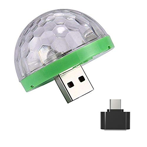 DEESEE(TM) NewUSB Mini LED RGB Disco Stage Light Party Club DJ KTV Xmas Magic Phone Ball Lamp 5Colors (Green) by DEESEE(TM)_🌸Cell Phone Accessories (Image #1)