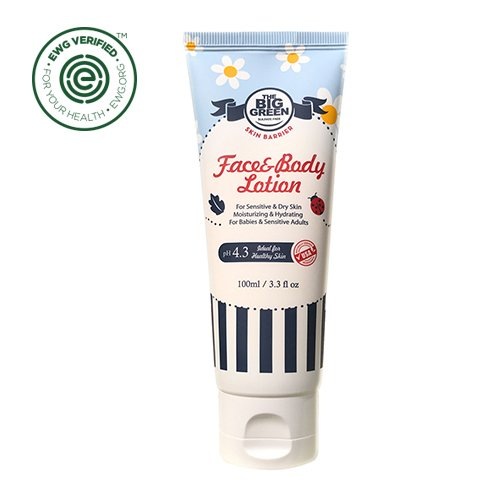 Big Green Baby Face and Body Lotion 3.3 fl oz.-Natural-Plant Based Ingredients-pH Balanced-Moisturizing-All Skin Types-Strengthens&Protects Skin Barrier-Lavender-Calendula-Shea Butter