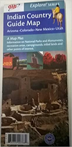 Indian country road map tour guide street aaa arizona colorado.