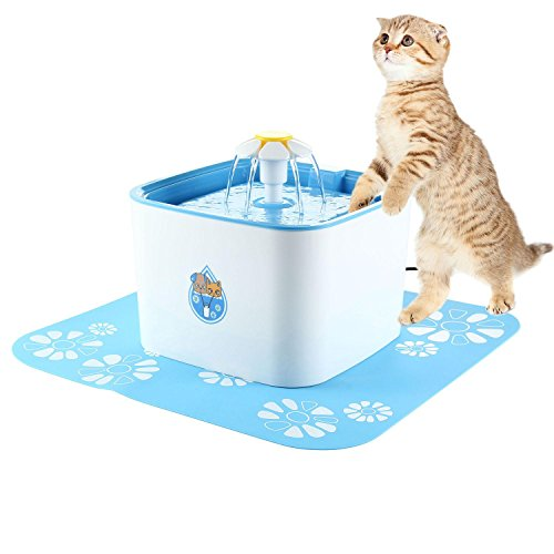 Tap Ceramic Dog Bowl (Aolvo Cat Fountain Pump, Automatic Circulating Ultra Silent Cat Waterfall, Pet Drinking Fountain Dispenser for Cats And Dogs With 2 Filters 1 Flowers and 1 Silicone Mat - 2.5L (85 Oz))