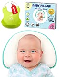 Infant Baby Flat Head Pillow | Sleeping Memory Foam Cushion for Newborn — Head Shaping & Correcting Flat Spot Syndrome | 2 Luxurious Bamboo Pillowcases & Bonus Bibs Included by Capitan Green