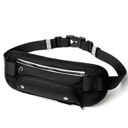 (CapsA Waist Pack with Water Bottle Holder Running Belt for Men Women Reflective Hydration Belt for Running Hiking Travelling Travel Wallking Fitness Jogging Workout (Black))