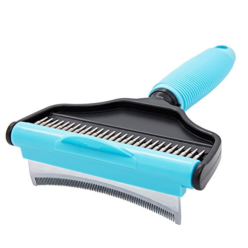(The One Dog Grooming Brush and Deshedding Tool for Dogs and Cats 2-in-1 Dog Brush Self Cleaning Curved Dematting Comb Rake - Effectively Reduce Shedding for Small, Medium & Large Pets)
