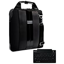 "VanGoddy Modern Onyx Black Messenger Bag for Samsung ChromeBook 3 / Galaxy TabPro S / Note Pro 12.2 / ATIV Book 9 12"" / 11""-12inch + Wireless Keyboard"