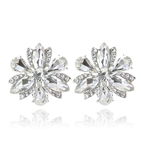 SP Sophia Collection Women's Stunning Crystal Statement Floral Stud Clip On Earrings in Silver