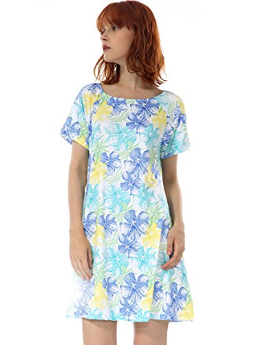 OEUVRE Women's Tunic Floral Tropical Style Print Pocket Jersey Casual Stretch Short Sleeve Dress White 12 (Jersey Dress Leopard Print)