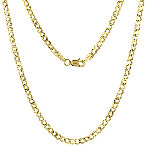 10K Yellow Gold Curb Link Chain Necklace Concaved Beveled Edges 3.1mm 20 inch