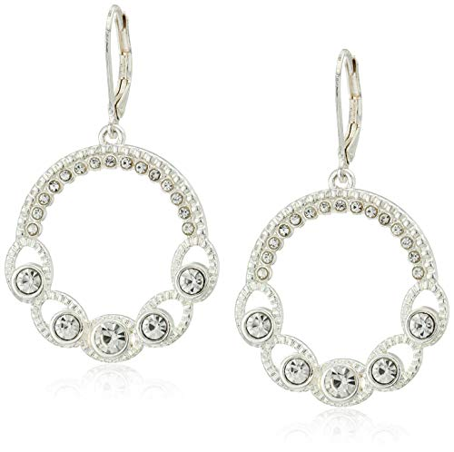 Napier Women's Silver-Tone And Crystal Circle Drop Earrings