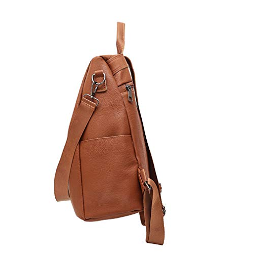 Pu For Brown Daypacks Leather Theft Backpack Girls Anti Shoulder Women Teenage Female Backpacks Casual OIvOSqwr
