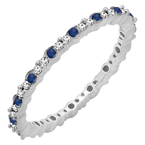 Dazzlingrock Collection 0.35 Carat (ctw) 10K Round Blue Sapphire & White Diamond Ladies Eternity Wedding Band, White Gold, Size 7