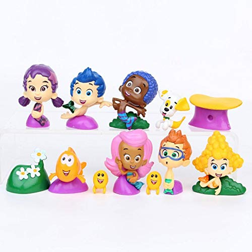 PAPRING Set 12 Bubble Guppies Toys 0.7 - 2 inch Hot Action Figure Deema Goby Small Figures Hot Model Mini Gift Christmas Halloween Birthday Gifts Doll Animal Collection Collectible for Kids Children ()