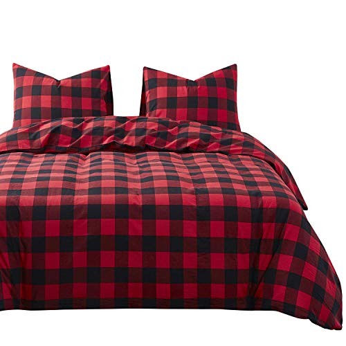 Wake In Cloud - Red Black Plaid Duvet Cover Set, 100% Washed Cotton Bedding, Buffalo Check Gingham Plaid Geometric Checker Pattern, with Zipper Closure (3pcs, Queen Size) (Flannel Duvet Red Queen Cover)