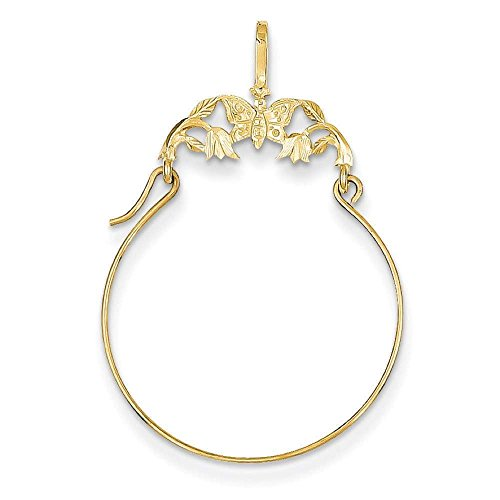 Gold Butterfly Charm Holder (14k Yellow Gold Butterflies Polished Charm Pendant Holder 35mmx20mm)