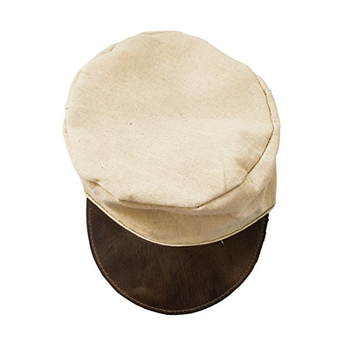 Hide & Drink Canvas Painter Cap with Rustic Leather Handmade Bourbon Brown