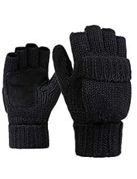 Woogwin Mens Winter Fingerless Gloves Fleece Thermal Wool Knit Convertible Mittens(black)