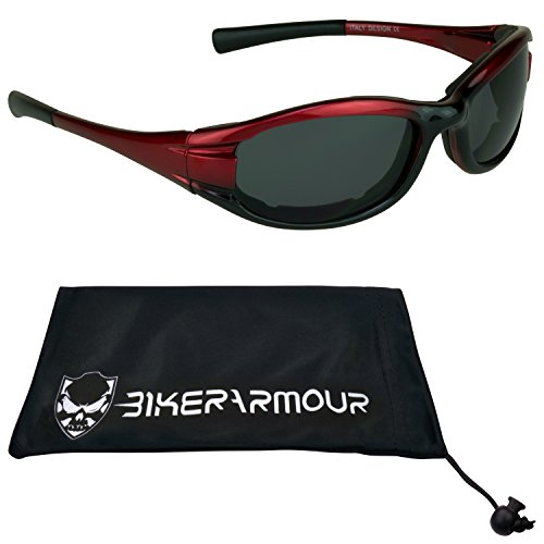 Red Frame Motorcycle Sunglasses Foam Padded for Women, Girls and Boys. Free Microfiber Cleaning Case