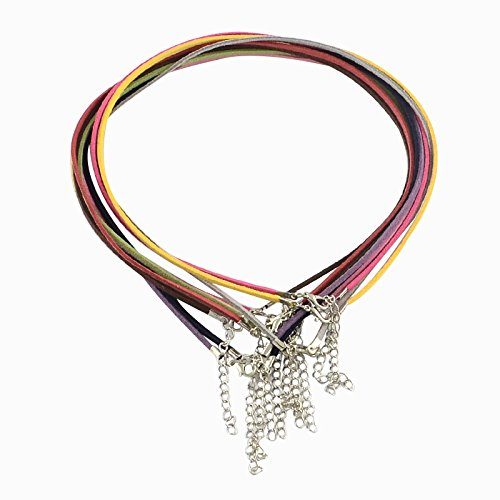 PandaHall 100 Strands 2mm Lace Faux Leather Suede Beading Cords Velvet String with Iron Extendsion Chains and Lobster Claw Clasps for Necklace Making Mixed Color 19.3