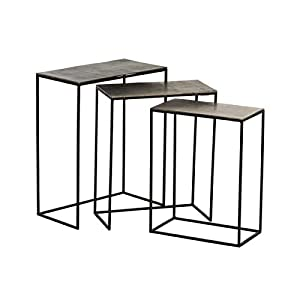 J-Line by Jolipa Set de 3 Tables gigognes rectangulaires Design Noir Vieilli