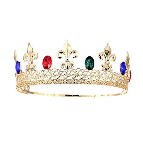 Eseres Men Tiara King's Crown Blue Red Crystal Adjustable Round Tiara