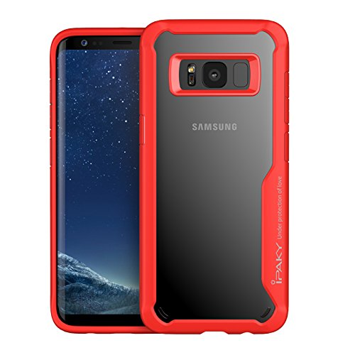 official photos 98bbb 055ad Samsung Galaxy S8, Original Ipaky Survival TPU Bumper injected Anti-Scratch  Transparent PC Case for S8 (Red)