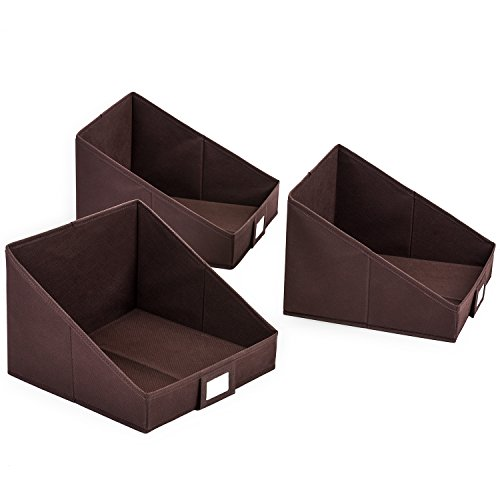 Closet Shelf Storage Bin with Label Holder, MaidMAX 3-Piece Non-Woven Storage Basket Foldable Storage Organizer for Towels, Clothes, Blankets, and Sweaters, Brown
