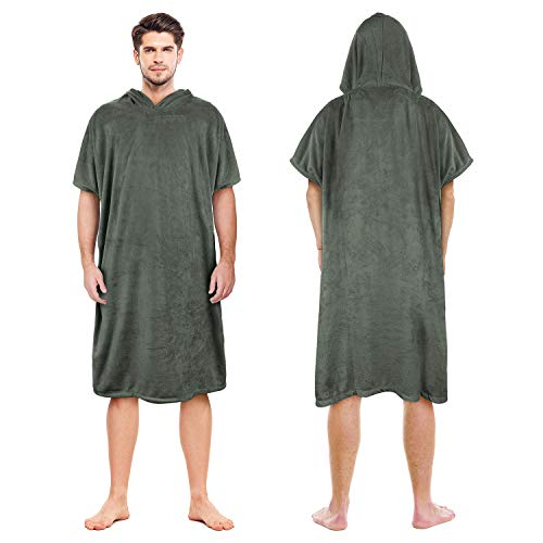 Catalonia Hooded Surf Towel Poncho,Super Water Absorption Microfiber Beach Sand-Proof Wetsuit Changing Robe for Adults Men Women Surfing Swimming Bathing Green -