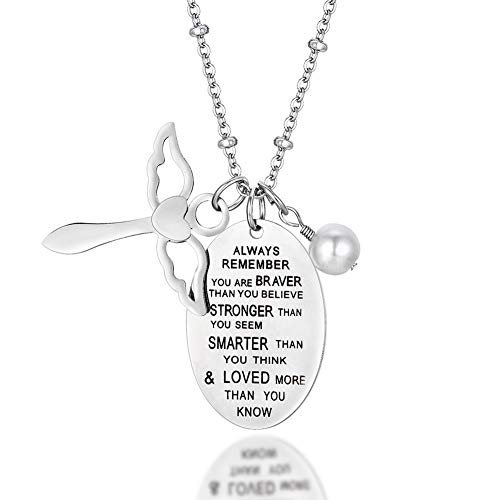 AnotherKiss Inspirational Necklace Jewelry Gift for Women Girls - You are Braver Stronger Smarter Than You Think Jewelry ()