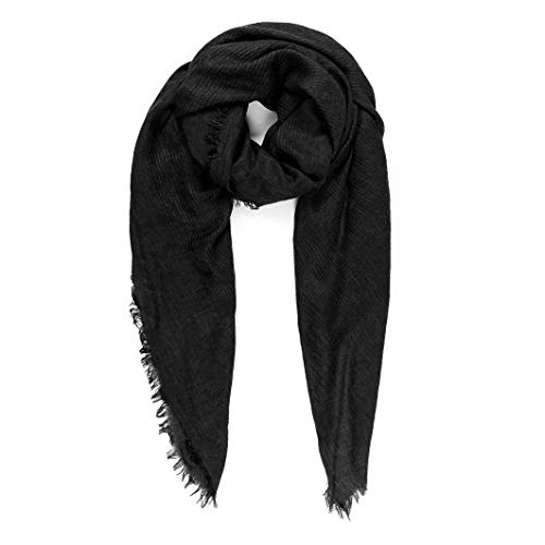 Scarves for Women: Lightweight Solid color Fall Winter Fashion Scarf by MIMOSITO (Waffle Textured, Black)