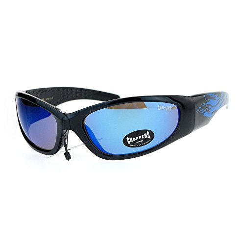 (Choppers Mirrored Eagle Flame Arm Warp Classic Oval Sunglasses Blue)