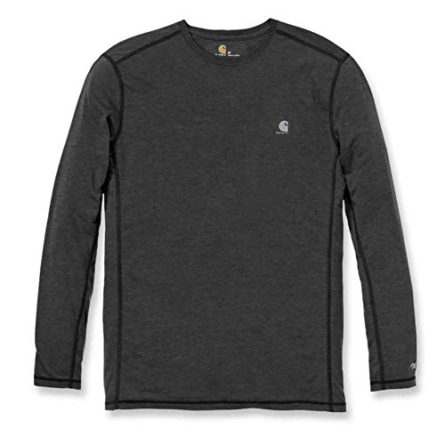 Carhartt Men's 102998 Force Extremes Long Sleeve T-Shirt - Large Regular - Black/Black Heather