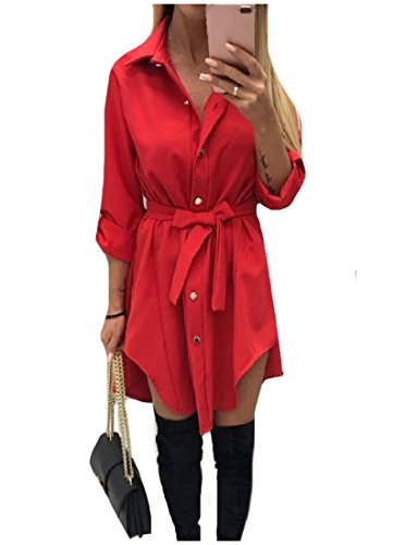 High Women Down Red Mini Dress Size Shirt Hem Coolred Low Button Plus ASZaAqw