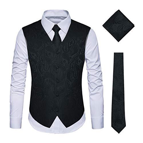 WULFUL Men's 3pc Paisley Vest Necktie Pocket Square Set for Suit or Tuxedo Black