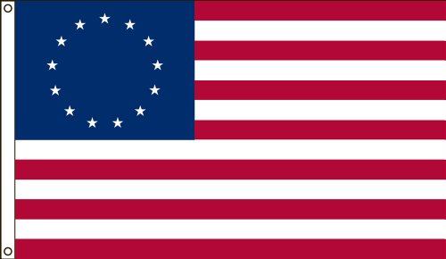 America's Flag, Betsy Ross Flag, Nylon, 5'x8', 100% Made in USA, Canvas Header, Heavy-Duty Brass Grommets, Historical Flag