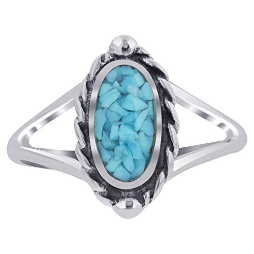 Silver Blue Inlay Sterling Turquoise (925 Sterling Silver Blue Turquoise Chip Inlay Oval Shape Bali Ring Size 7)