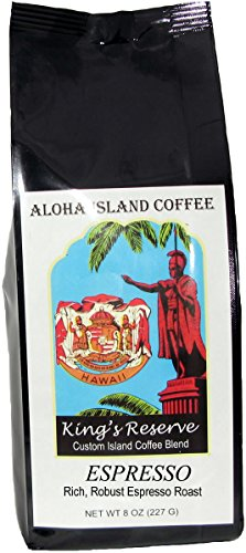 ESPRESSO Roast, Kings Reserve Kona Hawaiian Coffee Blend, 8 Oz Ground