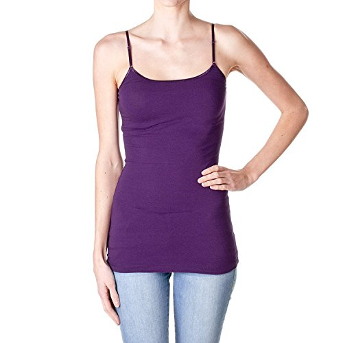 ACTIVE BASIC Plain Long Spaghetti Strap Tank Top Camis Basic Camisole Cotton, Purple/Grape, Large ()