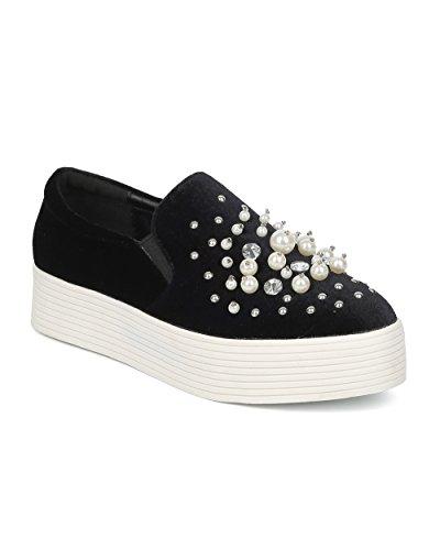 Alrisco Women Velvet Faux Pearl and Rhinestones Flatform Slip on Sneaker - HF86 by Wild Diva Collection Black Velvet