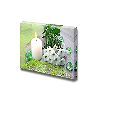 Canvas Prints Wall Art - Spa Therapy Concept Bath Salt with Candle and Flower | Modern Wall Decor/Home Decoration Stretched Gallery Canvas Wrap Giclee Print & Ready to Hang - 32