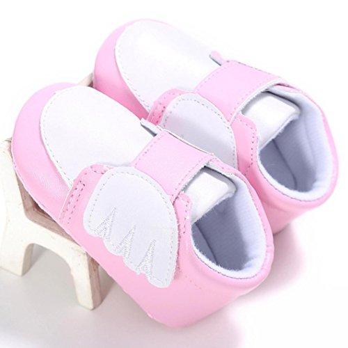Hunpta Neugeborenes Baby Mädchen Flügel Krippe Schuh weiche alleinige Anti-Rutsch Turnschuhe Rosa